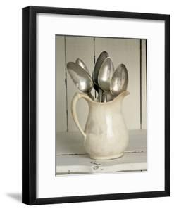 Old Silver Spoon in Light Coloured Ceramic Jug by Ellen Silverman