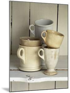 Various Light Coloured Cups on Wooden Shelf by Ellen Silverman