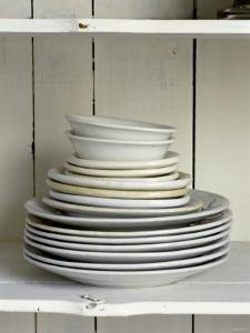 White Plates and Soup Plates (In Piles) by Ellen Silverman