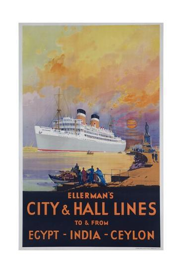 Ellerman's City and Hall Lines Cruise Poster--Giclee Print