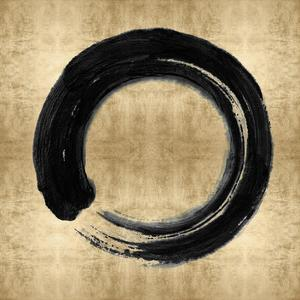 Black Zen Circle on Gold I by Ellie Roberts
