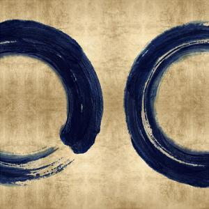 Blue Zen Circle on Gold II by Ellie Roberts