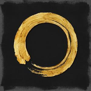 Gold Zen Circle on Black I by Ellie Roberts