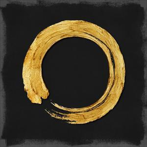 Gold Zen Circle on Black I by Ellie Roberts