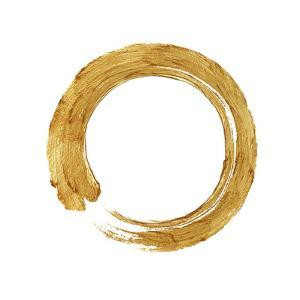 Gold Zen Circle on White I by Ellie Roberts
