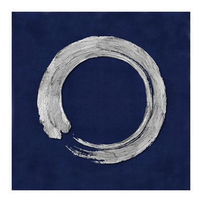 Silver Zen Circle on Blue I