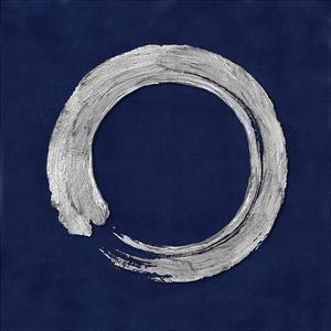 Silver Zen Circle on Blue I by Ellie Roberts
