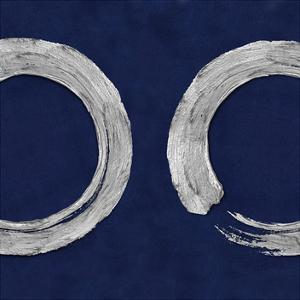 Silver Zen Circle on Blue II by Ellie Roberts