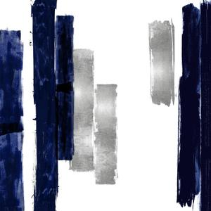 Vertical Blue and Silver I by Ellie Roberts