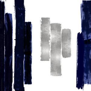 Vertical Blue and Silver II by Ellie Roberts