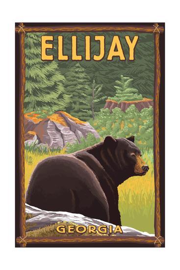 Ellijay, Georgia - Black Bear in Forest-Lantern Press-Art Print
