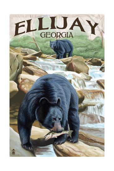 Ellijay, Georgia - Black Bears Fishing-Lantern Press-Art Print