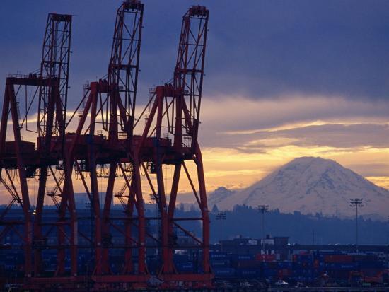 Elliot Bay Industrial Waterfront, Seattle, Washington, USA-Lawrence Worcester-Photographic Print