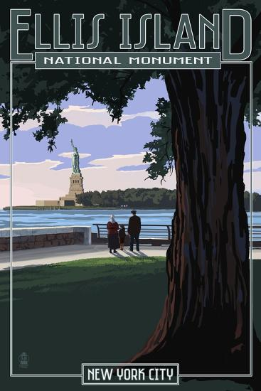 Ellis Island National Monument - New York City - Statue of Liberty-Lantern Press-Art Print