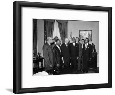 Roy Wilkins, Martin Luther King Jr., A. Phillp Randolph, Lester Granger, Dwight D. Eisenhower 1958