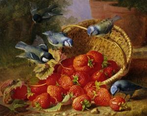 A Feast of Strawberries (Blue Tits) by Eloise Harriet Stannard by Eloise Harriet Stannard