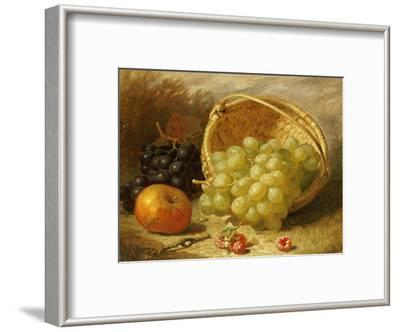 An Upturned Basket of Grapes, an Apple and Other Fruit