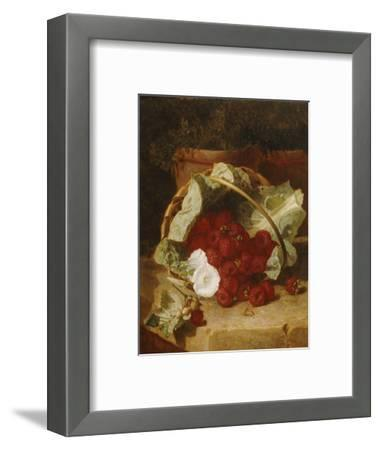 Raspberries in a Cabbage Leaf Lined Basket with White Convulus on a Stone Ledge, 1880