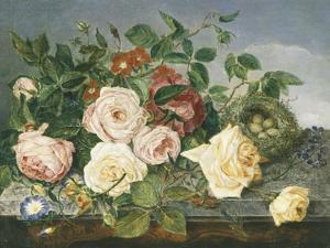 Still Life of Roses and Morning Glory by Eloise Harriet Stannard
