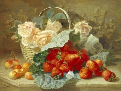 Still Life of Summer Fruit and Peach Roses