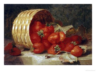 Strawberries in a Wicker Basket on a Ledge, 1895
