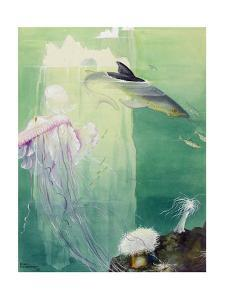 A Painting of Alaskan Undersea Wildlife and Icebergs by Else Bostelmann