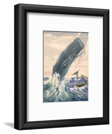 Painting of a Sperm Whale Leaping After Being Struck with a Harpoon