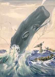Painting of a Sperm Whale Leaping After Being Struck with a Harpoon by Else Bostelmann