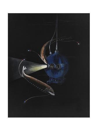Two Deep Seat Creatures Swim around the Bathysphere by Else Bostelmann