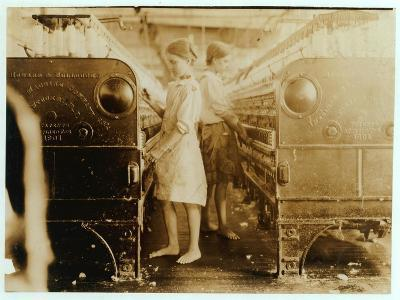 Elsie and Sadie Working at Yazoo City Yarn Mills, Mississippi Said They Were 13 Years Old, 1911-Lewis Wickes Hine-Photographic Print
