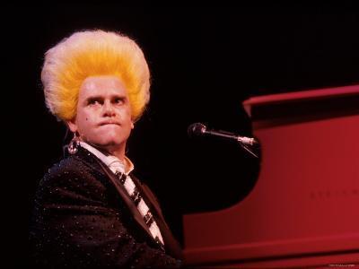 Elton John Performing, Wearing Wig--Premium Photographic Print