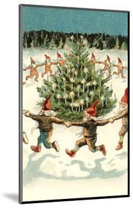 Elves Dancing around Christmas Tree