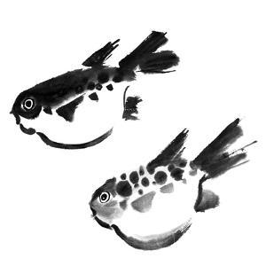 Chinese Painting Of Swellfish On White Background by elwynn
