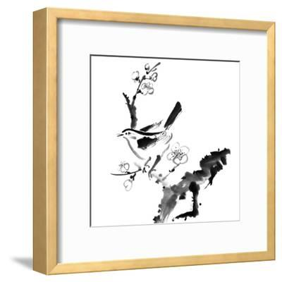 Chinese Painting , Plum Blossom And Bird, On White Background