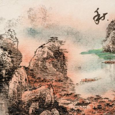 Chinese Traditional Ink Painting, Landscape of Season, Fall.