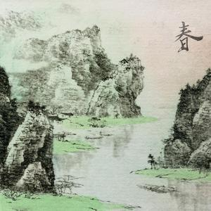 Chinese Traditional Ink Painting, Landscape of Season, Spring. by elwynn