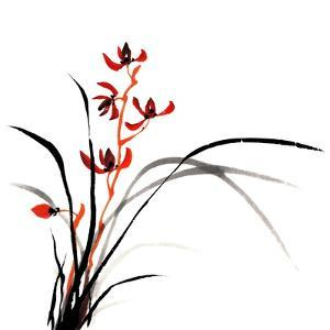 Chinese Traditional Ink Painting Of Orchid On White Background by elwynn