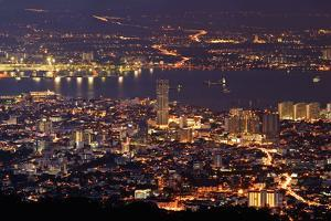 Panoramic Cityscape in Night with River and Tower in Penang, Malaysia, Asia. by elwynn
