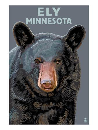 Ely, Minnesota - Bear Up Close-Lantern Press-Art Print