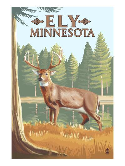 Ely, Minnesota - White Tailed Deer-Lantern Press-Art Print