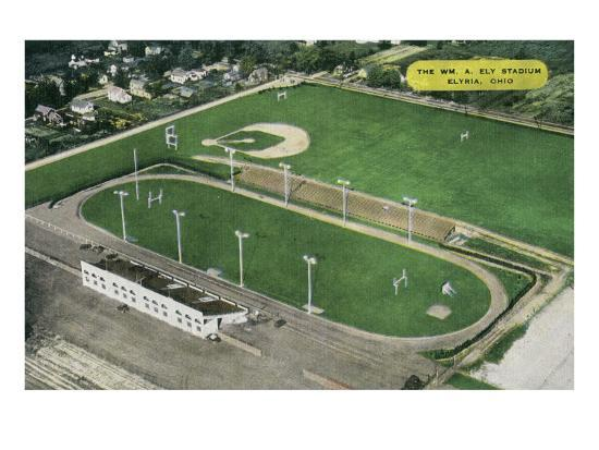 Elyria, Ohio - Aerial View of William A. Ely Stadium-Lantern Press-Art Print
