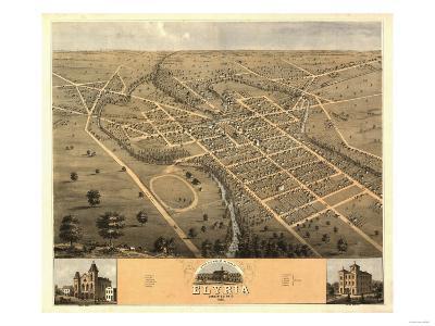 Elyria, Ohio - Panoramic Map-Lantern Press-Art Print