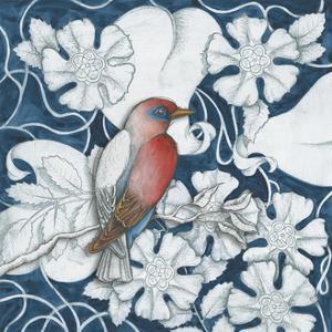 Arts and Crafts Bird Indigo I by Elyse DeNeige