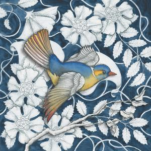 Arts and Crafts Bird Indigo III by Elyse DeNeige