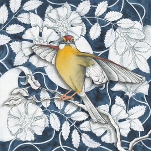 Arts and Crafts Bird IV Indigo by Elyse DeNeige