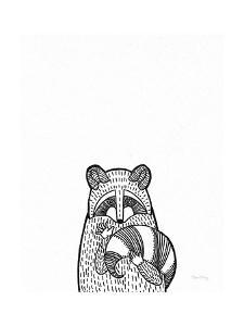 Forest Friends II Black and White Raccoon by Elyse DeNeige