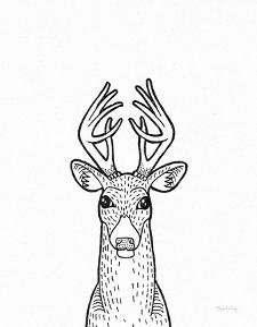 Forest Friends III Black and White Deer by Elyse DeNeige