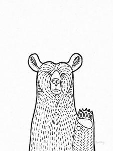 Forest Friends IV Black and White Bear by Elyse DeNeige