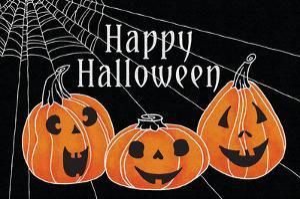 Spooky Jack O Lanterns Three Pumpkins by Elyse DeNeige