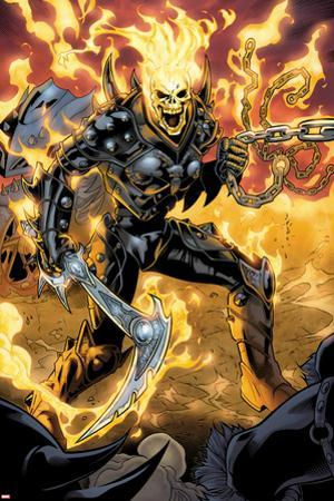 Ghost Rider No.9: Ghost Rider Posing With Chains and Weapon by Emanuela Lupacchino